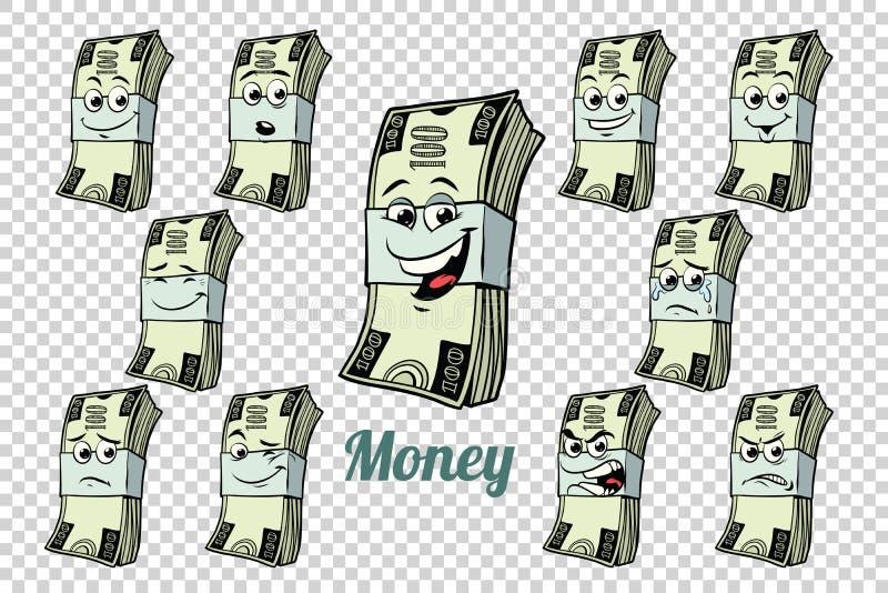 Honderd van de verpakkingsemoties van het dollarscontante geld karaktersinzameling vector illustratie