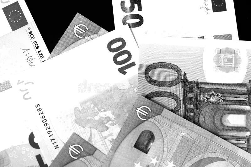 Honderd Vijftig euro bankbiljetten in zwart-witte stijl royalty-vrije stock afbeeldingen