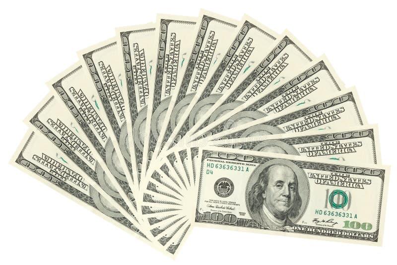 Honderden uitgespreide dollars royalty-vrije stock foto