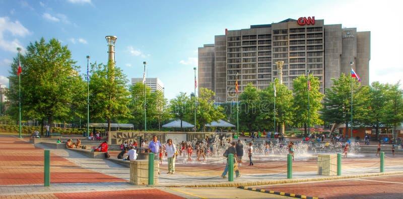 Honderdjarig Olympisch Park en CNN-centrum Atlanta royalty-vrije stock afbeeldingen