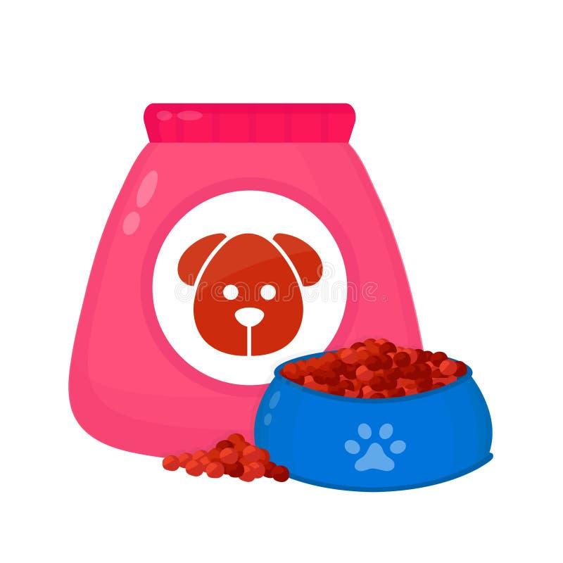 Hondevoerzak, voer in een kom vector illustratie