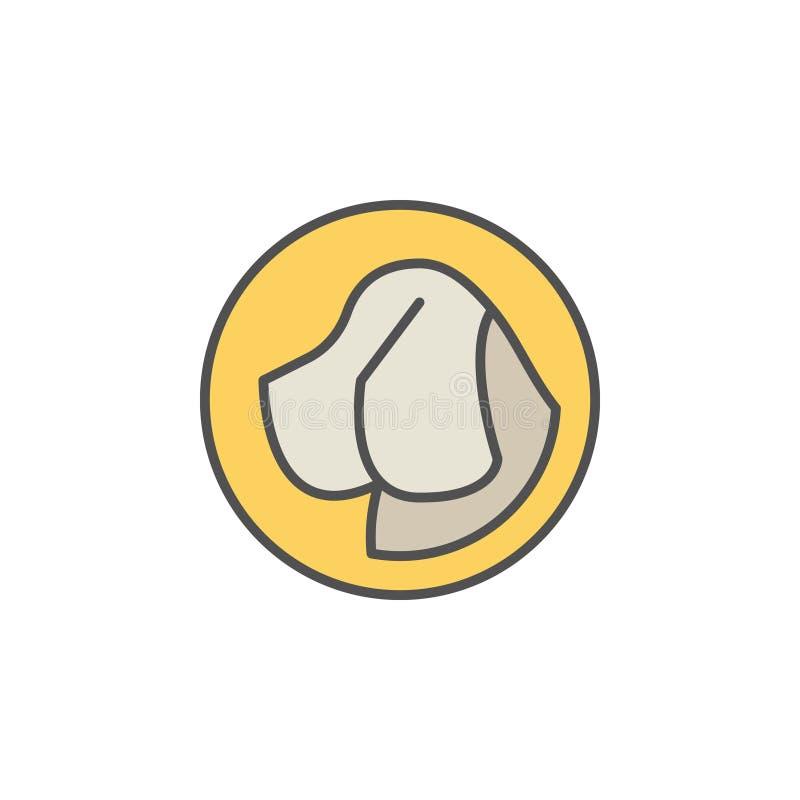 Hondhoofd in geel cirkel vectorpictogram vector illustratie