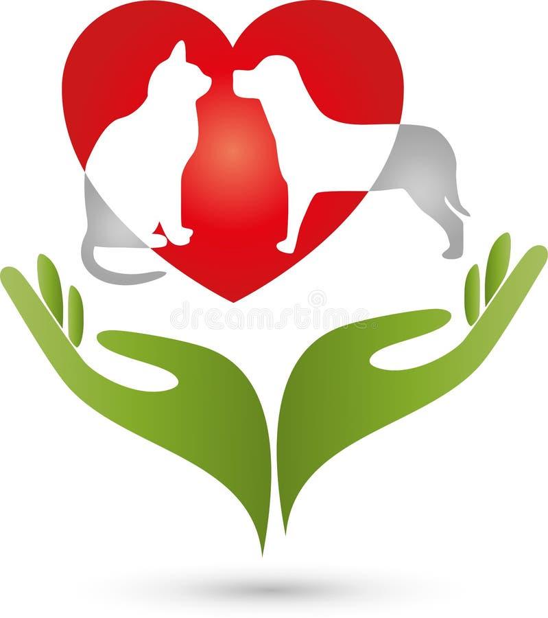 Hondkat en twee handen, hart en dieren, hart voor dierenembleem stock illustratie