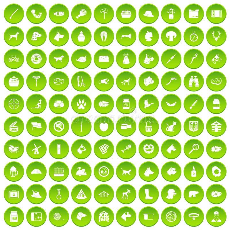 100 hondpictogrammen geplaatst groene cirkel vector illustratie