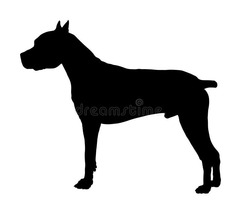 Hondportret van het Amerikaanse Staffordshire vectorsilhouet van kuilbull terrier stock illustratie
