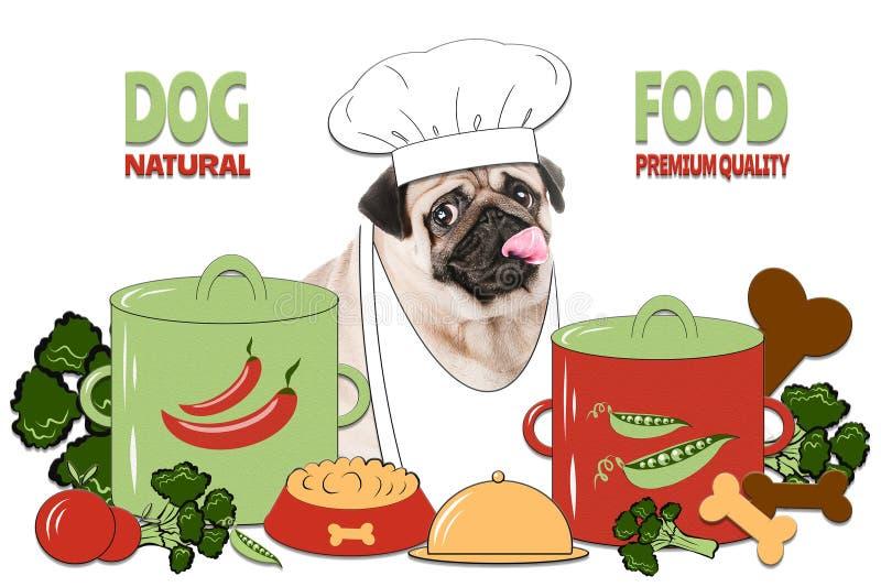 Hondpremie en natuurvoedingconcept, gezond voedsel voor huisdieren r royalty-vrije illustratie
