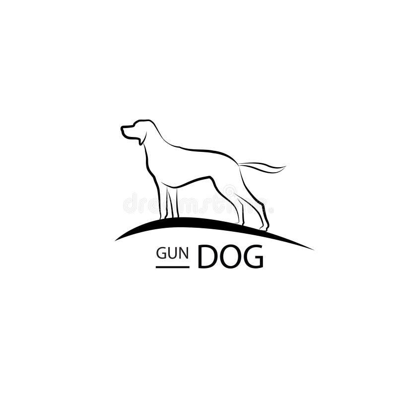 Hondsymbool Het ontwerp van het huisdierenembleem Het bevindende silhouet van de kanonhond stock illustratie