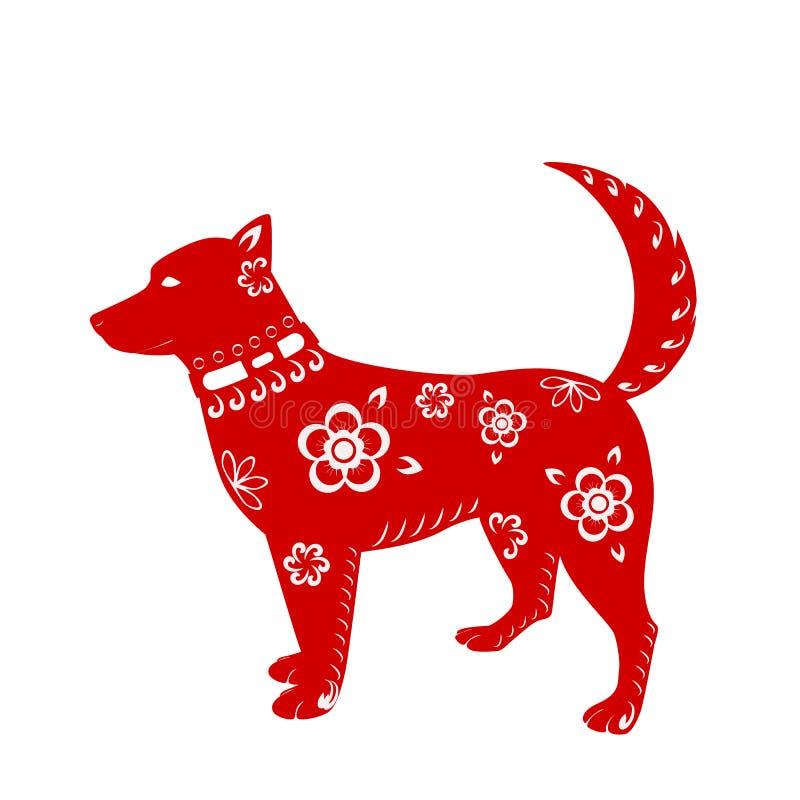 Hondsymbool van Chinees die Nieuwjaar 2018, op witte achtergrond wordt geïsoleerd Ontwerp van de kaarten van de vakantiegroet, ka vector illustratie