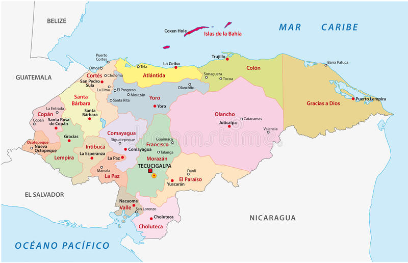 Honduras Administrative And Political Map Stock Illustration