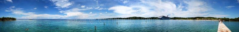Honduras Bay Panorama. The panoramic view of Mahogany Bay on Roatan Island Honduras stock image