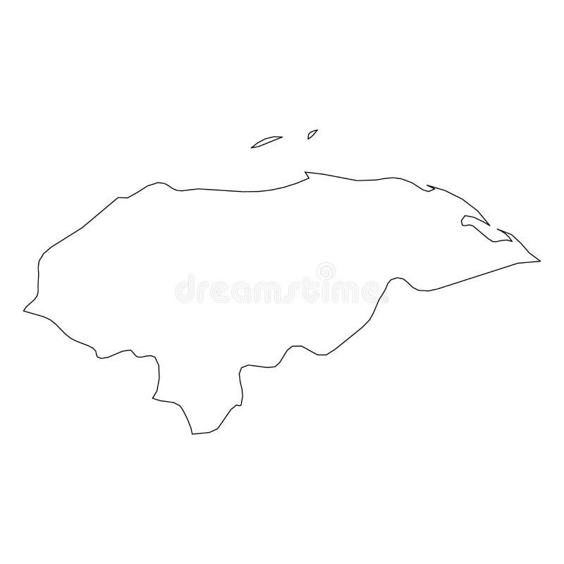 Honduras - de stevige zwarte kaart van de overzichtsgrens van het gebied van het land Eenvoudige vlakke vectorillustratie royalty-vrije illustratie