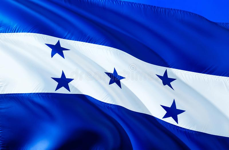 Honduras flag. 3D Waving flag design. The national symbol of Honduras, 3D rendering. National colors and National South America. Flag of Honduras for a royalty free stock images