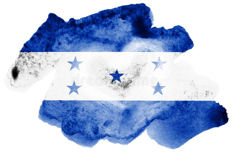 Honduras flag is depicted in liquid watercolor style isolated on white background. Careless paint shading with image of national flag. Independence Day banner stock image