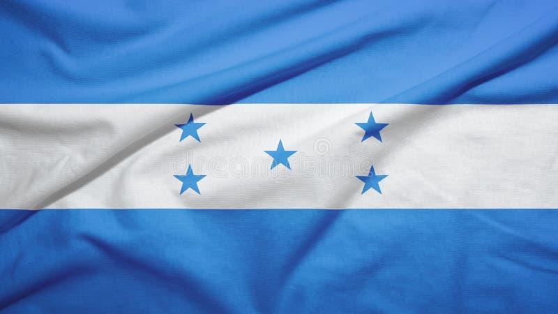 Honduras flag with fabric texture. Honduras waving flag on the fabric texture royalty free stock photo