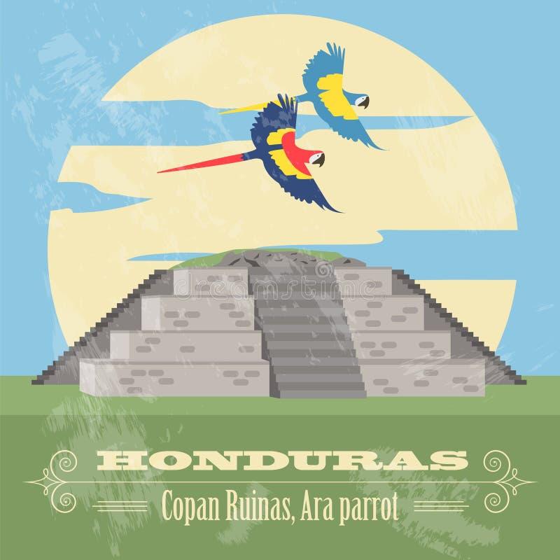 Honduras gränsmärken Copan Ruinas, munkhättapapegoja Retro utformad bild stock illustrationer