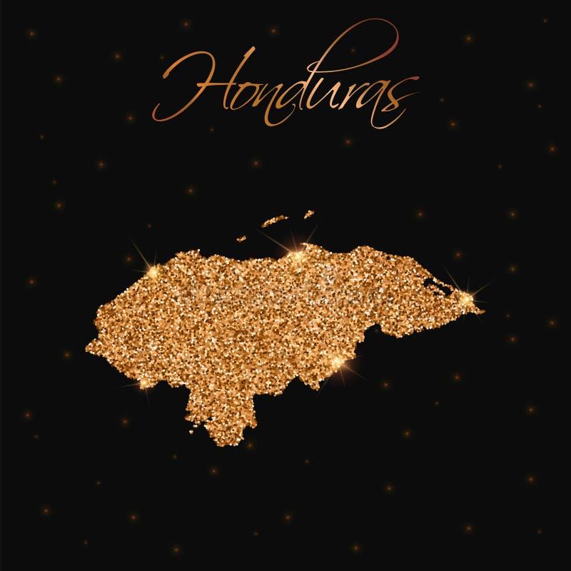 Honduras-Karte gefüllt mit goldenem Funkeln lizenzfreie abbildung