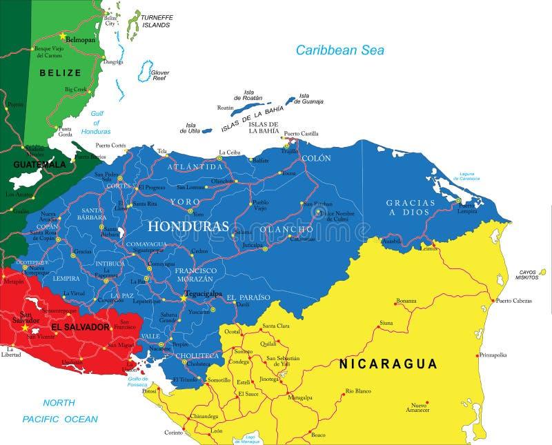 Honduras map stock vector Illustration of destination 38129285