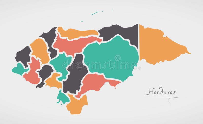 Honduras Map with states and modern round shapes. Illustration vector illustration