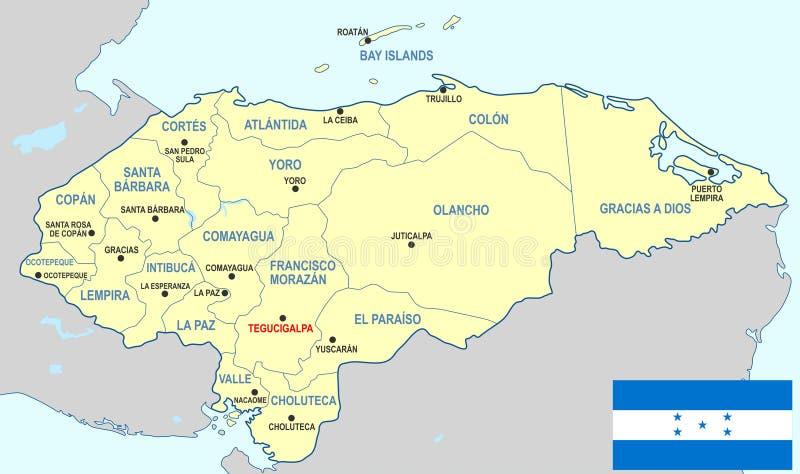 Honduras mapa ilustracji