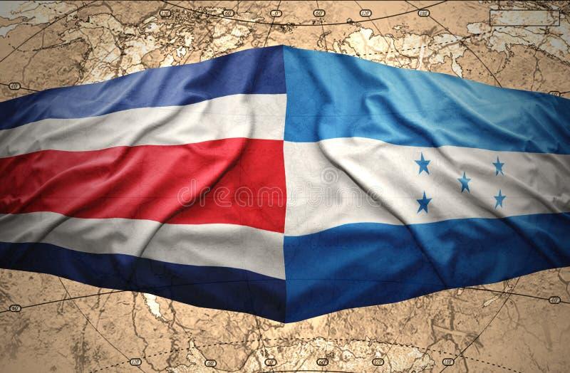 Honduras och Costa Rica stock illustrationer