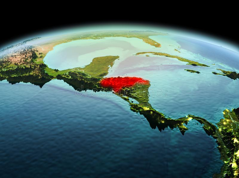 Honduras on planet Earth in space. Morning above Honduras highlighted in red on model of planet Earth in space. 3D illustration. Elements of this image furnished stock images