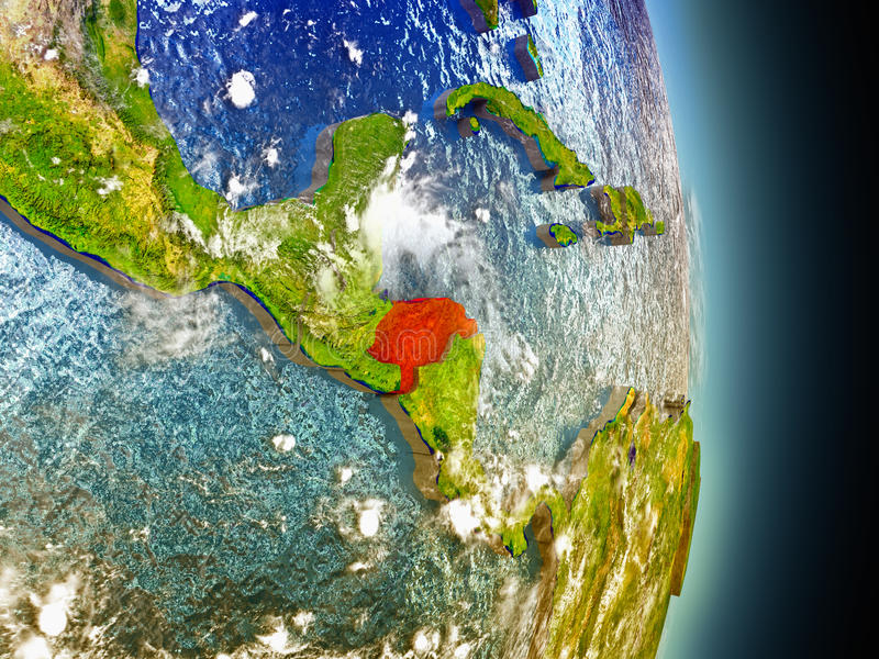 Honduras in rood van ruimte vector illustratie