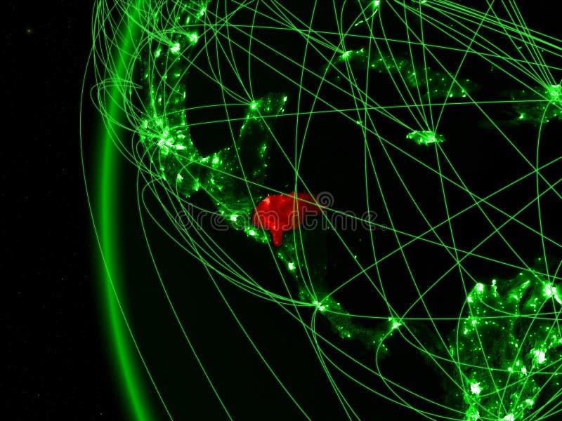Honduras van ruimte op groen model van Aarde met internationale netwerken Concept groene mededeling of reis 3D Illustratie royalty-vrije stock foto