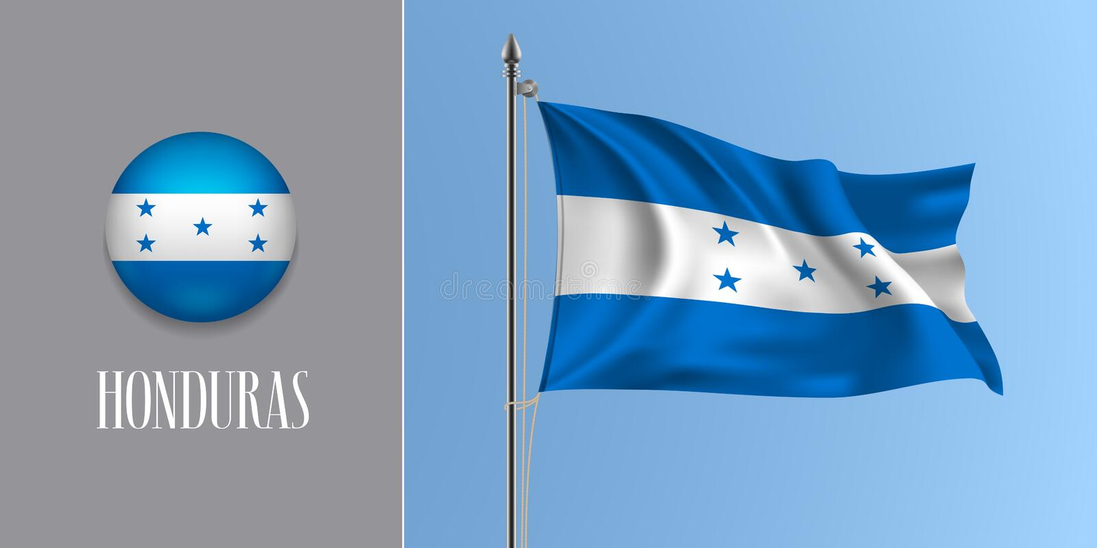 Honduras waving flag on flagpole and round icon vector illustration royalty free illustration
