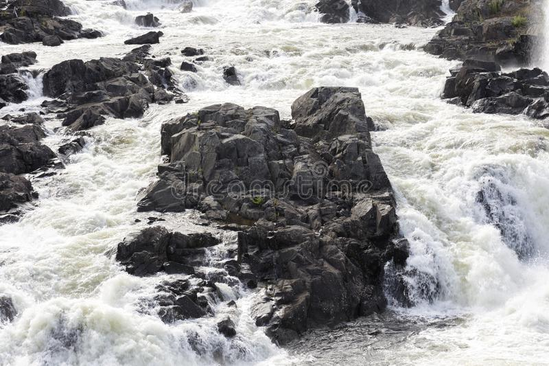 Honefoss waterfall in Norway. Honefoss waterfall with rock in Norway royalty free stock photo