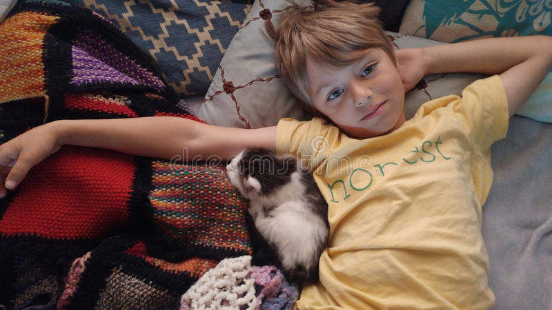 Honest Boy Cuddling With Kitten stock photography
