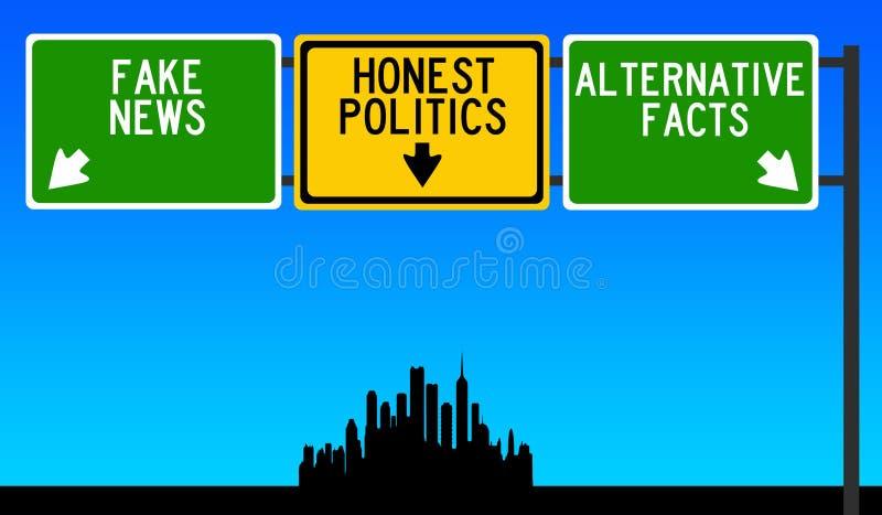 Honest politics. Preferring honest politics, no fake news nor alternative facts royalty free illustration