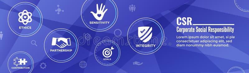 Honestidade de w da bandeira da Web do encabeçamento da responsabilidade social, integridade, colaboração, encabeçamento da bande ilustração royalty free