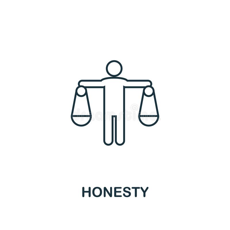 Honesty icon. Thin line design symbol from business ethics icons collection. Pixel perfect honesty icon for web design, apps,. Software, print usage royalty free illustration