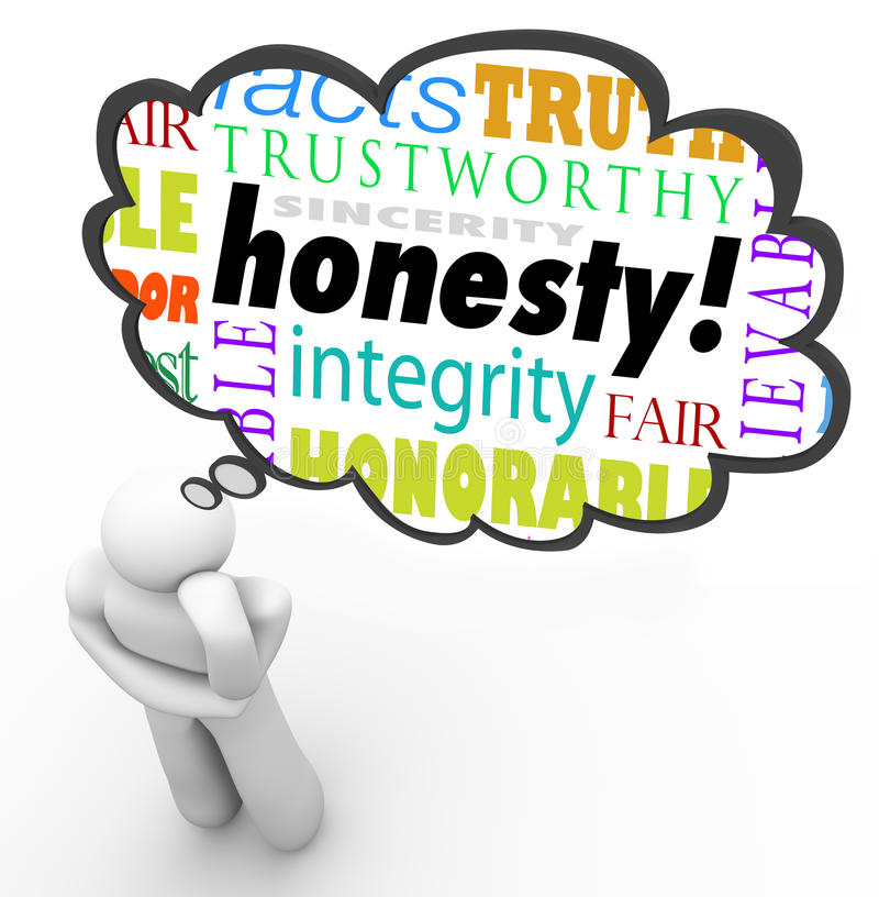 Free Honesty Sincerity Virtue Words Integrity Thinker Thought Cloud Royalty Free Stock Images - 43442369