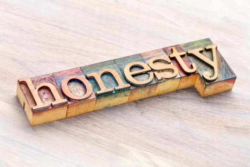 Honesty word abstract in wood type. Honesty word abstract in letterpress wood type printing blocks stained by color inks stock image