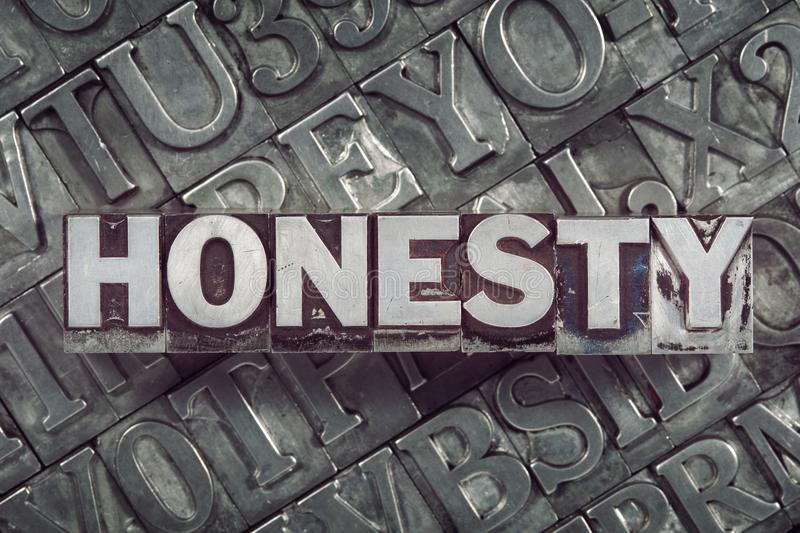 Honesty met mix. Honesty word concept made from metallic letterpress blocks on many letters background vector illustration