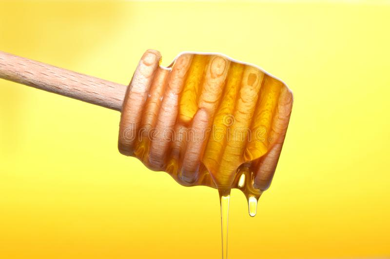 Honey pouring on wooden dipper. Liquid yellow natural honey pouring fron wooden dippee closed up on yellow royalty free stock photos