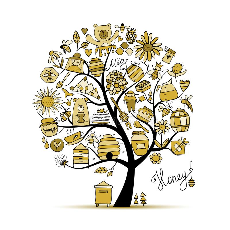 Honey apiary, art tree. Sketch for your design. Vector illustration vector illustration