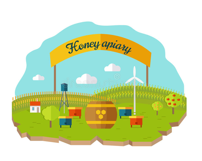 Honey Apiary Conceptual Vector in Flat Style Design. vector illustration