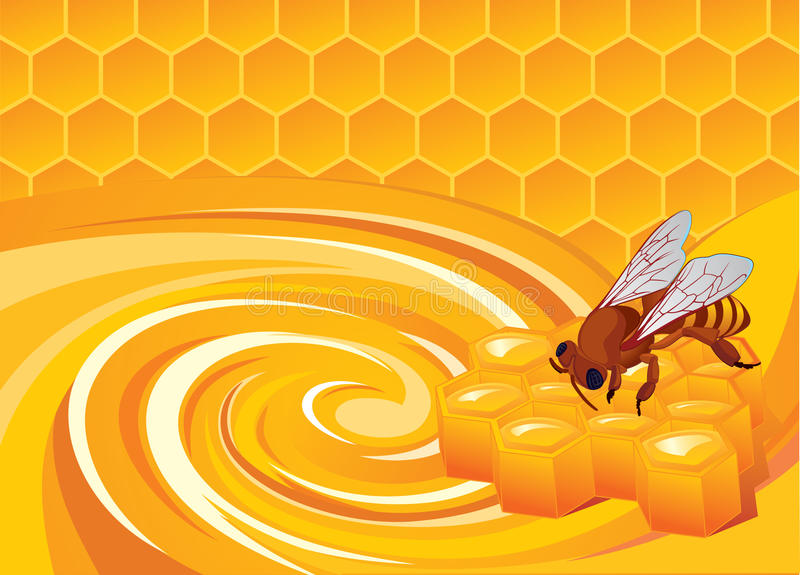 Honey aroma. And bee for elements royalty free illustration