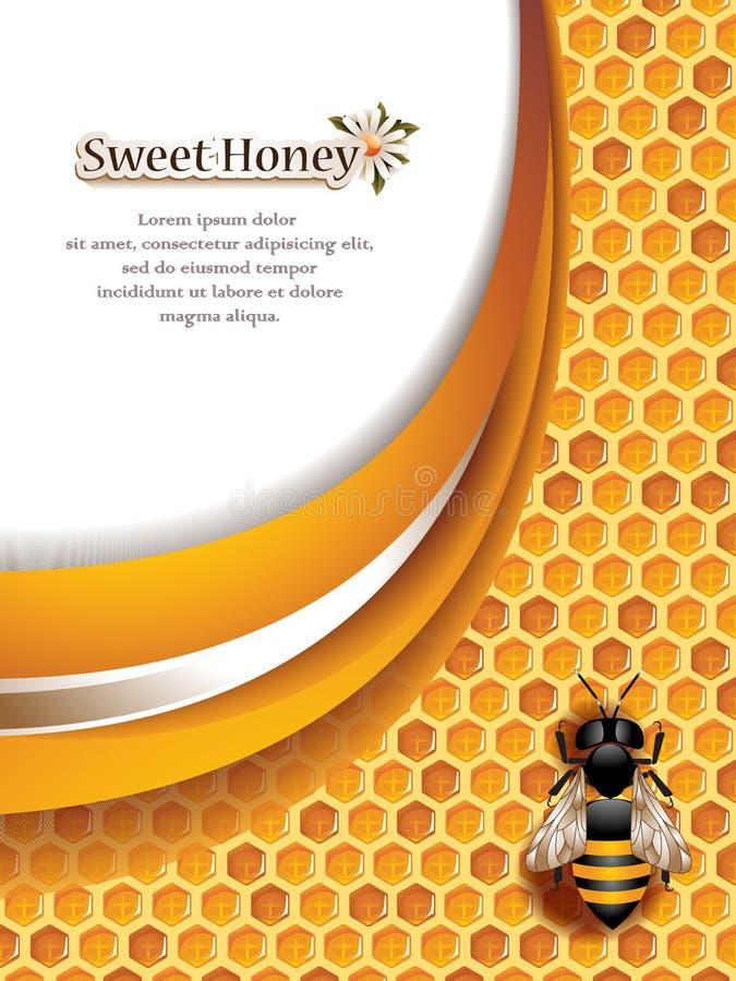 Honey Background abstrait avec l'abeille de travail illustration de vecteur