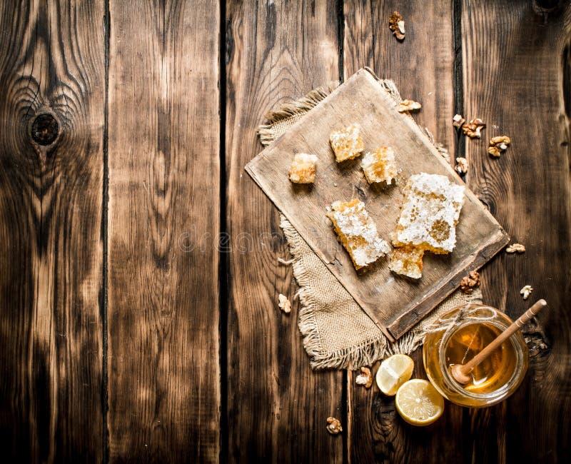 Honey Background Rebanadas y nueces naturales del limón de la miel foto de archivo libre de regalías
