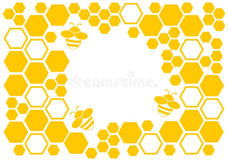 Honey background, yellow frame with honeycomb and bee, space for your text. Vector royalty free illustration