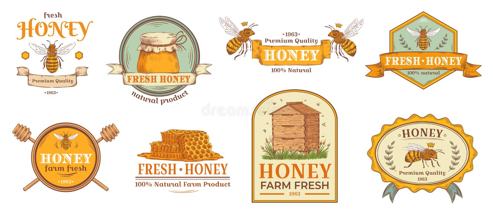 Honey badge. Natural bee farm product label, organic beekeeping pollen and bees hive emblem badges vector illustration. Honey badge. Natural bee farm product vector illustration