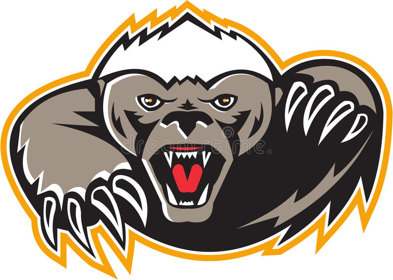 Honey Badger Mascot Claw ilustração do vetor