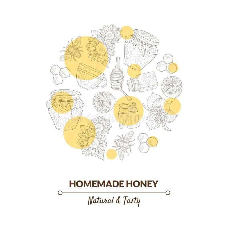 Honey Banner Template orgánico con el modelo exhausto en forma circular, comida sana dulce natural, elemento de la mano del diseñ stock de ilustración