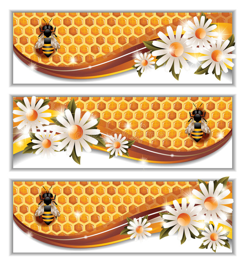 Honey Banners ilustración del vector