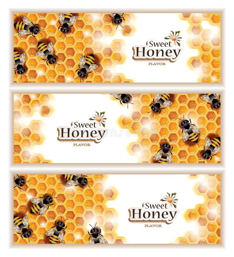 Honey Banners avec les abeilles de travail illustration de vecteur