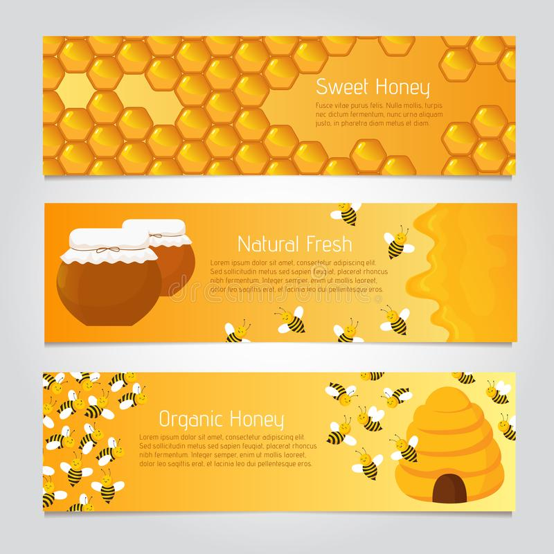 Honey banners. Cute cartoon honeybees with beehive. Vector set vector illustration