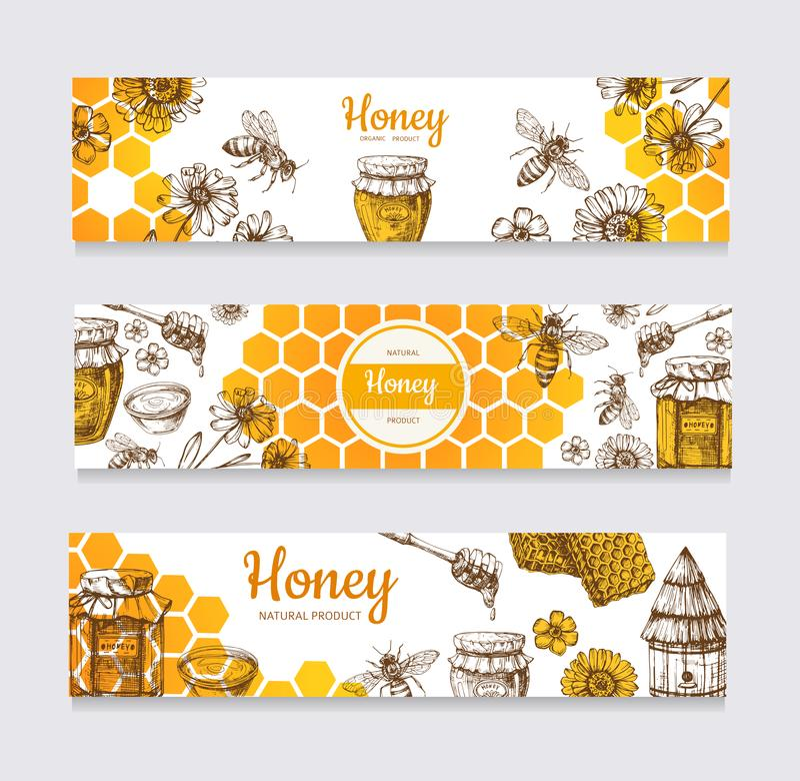 Honey Banners Uitstekende hand getrokken bij en honeyed bloem, honingraat en bijenkorf vectoretiketten stock illustratie